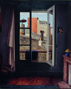 René Rimbert View of the city 1929 Colorful Artwork, Open Window, French Artists, Windows And Doors, Lily, Mirror, World, Interior, Modern