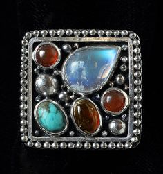 Clearance Sale! Sterling Silver Multi Gemstone Ring with Rainbow Moonstone, Tibetan Turquoise, Baltic Amber and Carnelian handcrafted by Bluemoonstone Creations.