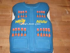 Nerf Vest Cake 6th Birthday Parties, 10th Birthday, Nerf Vest, Nerf Cake, Nerf Party, Cupcake Cakes, Cupcakes, Sweet Cakes, Nerf Gun