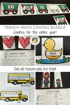 French math centres for the entire year! Save now on this French Math Centres bundle and receive all future updates for free! Receive a discount by buying the sets together. This bundle will go up in price as each new math centre set is added. French Teaching Resources, Teaching French, Teacher Resources, Core French, Free In French, French Teacher, French Immersion, Teaching Materials, Learn French