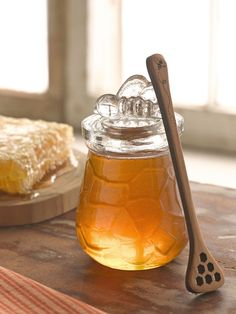 Our glass jar is the perfect way to store and serve honey. Lid is topped with adorable bee handle. Makes a sweet gift. Honey Love, My Honey, Milk And Honey, Golden Honey, I Love Bees, Mourning Dove, Bee Happy, Save The Bees, Bees Knees