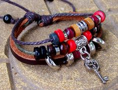 Friendship Womens mens Leather bracelet wood  Bead Metal  key  Bracelet with Adjustable  Rope. $6.99, via Etsy.