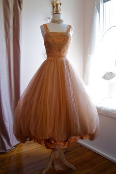 50s Dress / 50s Prom Dress /  50s Wedding Dress /  Vintage 1950s Couture Mary Carter Dress Size S. $398.00, via Etsy.