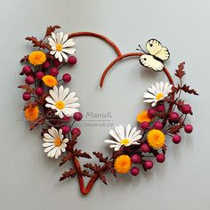 Flowers in My Heart III - Quilled Daisies, Dandelions and Berries