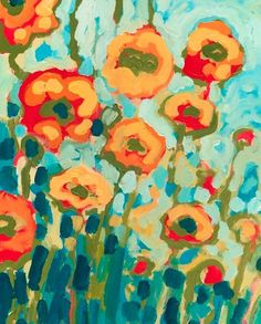 Orange Poppies in Turquoise 8 x 10 inch Bamboo Fine Art Print by Jenlo. $25.00, via Etsy.