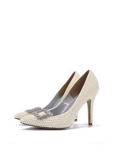 #AdoreWe #StyleWe Heels - Designer LEISIDINA Pearl White Stiletto Heel Imitation Pearl Heels - AdoreWe.com