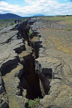 The boundary between the Eurasian and American plates, Iceland.