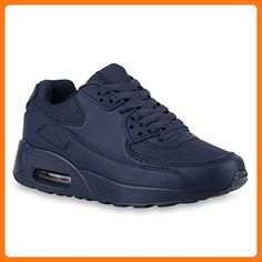 Damen Herren Lauf Unisex Sport Sneakers Camouflage Fitness Sneaker Leder-Optik Glitzer Lack Neon Schuhe 118769 Dunkelblau 43 | Flandell®