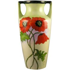 C.T. Altwasser Silesia Poppy Design Vase (Signed 'C.A. McCune'/Dated 1924) Dark Flowers, Arts And Crafts Movement, Vintage Pottery, Poppies, Art Nouveau, Projects To Try, Hand Painted, Antiques, Barbell