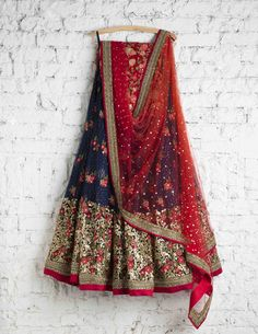 SwatiManish Lehengas SMF LEH 101 17 Regal blue lehebga with heavy daman with red shaded dupatta and floral threadwork blouse