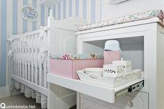 enxoval de bebê floral azul e branco