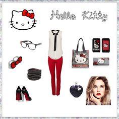 Hello Kitty, created by #stptabby on #polyvore. #fashion #style Christian Louboutin Hello Kitty
