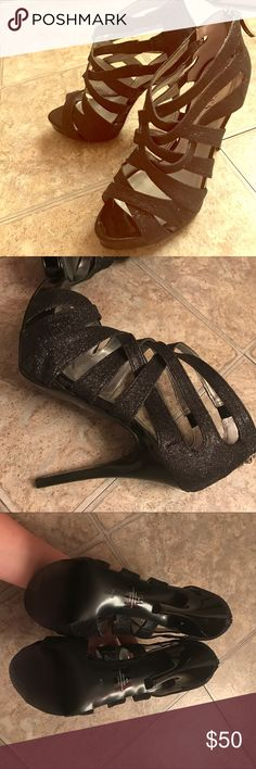 GUESS black glitter cage heels 8.5 Guess black glitter cage heels with back zipper. Size 8.5M. 5 inch heel. Like new!!   Smoke free home. 15% off bundles of 2 or more! No trades, please. Guess Shoes Heels