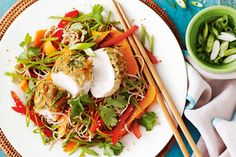 For a low-fat Asian-inspired dish try this tasty miso-crusted chicken and fresh soba noodle salad.