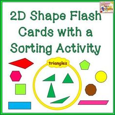2D Shape Flash Cards with Venn Diagram Sorting Activity $