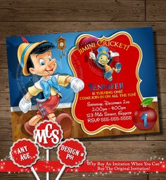 PINOCCHIO INVITATION, Pinocchio, Pinocchio Birthday Party, Invitation, Kids Invitation, Birthday Party Invitation, My Celebration Shoppe by MyCelebrationShoppe on Etsy https://www.etsy.com/listing/203109568/pinocchio-invitation-pinocchio-pinocchio