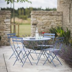 Rive Bistro Table Set with 4 Chairs - Dorset Blue