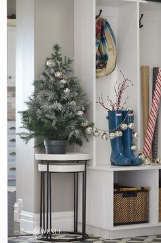 Even your mudroom can be decorated for Christmas!