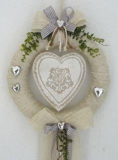 Türkranz creme/braun großes Herz  Kranz Türdeko Wandkranz Hochzeit Herbst (ebay)