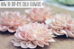 How to dip-dye sola wood flowers. #diy #wedding #flowers