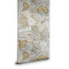 Vintage French Maps Boutique Faux Wallpaper design by Milton & King (8.665 RUB) ❤ liked on Polyvore featuring home, home decor, wallpaper, wallpaper samples, faux wallpaper, map wallpaper, map home decor and exposed brick wallpaper