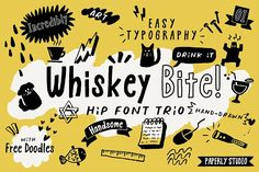 As a designer who works for creative brands, we often experience struggles to design a fun, eye-catching and very hand-drawn look. **Whiskey Bite** is just for you! Happy Font, Free Doodles, Light Font, Font Packs, Cute Fonts, Font Setting, Good Jokes, Premium Fonts, Grafik Design