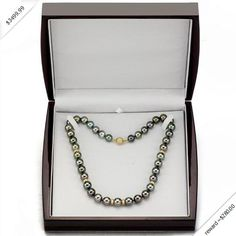 """14k Yellow Gold .25ctw Diamond 10-12mm Black South Sea Tahitian Pearl Necklace 18"""" Length with Ball Clasp. Included Free Beautiful Mahagony Wood Jewelry Box. Pearls is June Birthstones"""