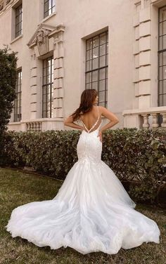 V-Neckline Fit-and-Flare Wedding Dress with Floral Details - Martina Liana Couture Wedding Gowns, Dream Wedding Dresses, Designer Wedding Dresses, Bridal Dresses, Bridesmaid Dresses, Stunning Dresses, Beautiful Gowns, Bridal Elegance, Mod Wedding