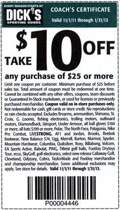 Dicks sporting goods coupons october 2013 online and printable 10 off any purchase of 25 or more fandeluxe Gallery