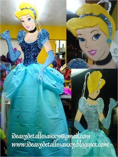 Ideas y detalles Auxy: PIÑATAS ARTISTICAS Disney Princess Party, Paper Mache, Party Planning, Party Time, Cinderella, Balloons, Birthdays, Pinata Ideas, Disney Characters