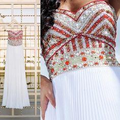 whitte prom dress, sweet heart prom dress, beading