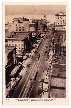 VANCOUVER, B.C., Photo postcard with an aerial view looking north on Granville Street toward the north shore. Publkished by C.F. Senner, Vancouver.