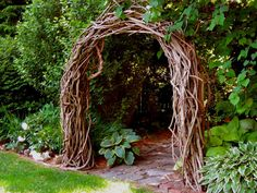 wood rustic arbor. i like the thickness of this arch. it would be a nice alter