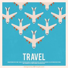 Travel background with airplanes