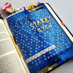 ✨Jeremiah 33:3- Cry out to me and I will answer you and tell you great & hidden things you have not known. When you are in awe of God's greatness it brings a sense of wonder to your eyes. Being starry-eyed is all about bringing glory to God and a sense of wonder for you.  We are the starry-eyed! I splattered over the star transparency with metallic gold & silver acrylic paint for a more starry effect. ✨#bibleart #illustratedfaith #biblejournaling #icolorinmybible #biblejournalingcommunity…