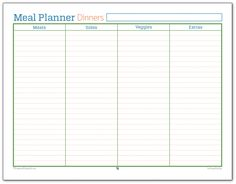 meal planner printable for dinners i use this one to make sure ive planned for enough meats veggies and sides to hold us until our next shopping trip