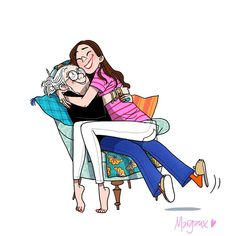 Family Illustration, Flat Illustration, Graphic Design Illustration, Mother Daughter Art, Mother And Child, Best Urdu Poetry Images, Art Drawings For Kids, Cute Images, Kawaii Anime