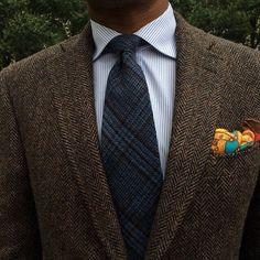 Tweed blazer, striped shirt, plaid tie, silk p square