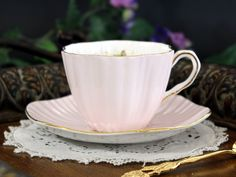 EB Foley Cup & Saucer, Floral English Teacup, Pink Vintage Bone China - Pink, ribbed exterior and beautiful floral transferware decorate this delicate set. Sweet vintage piece in great vintage conditi