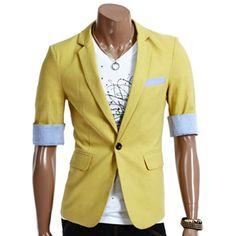 Want! Yellow cropped sleeve blazer.