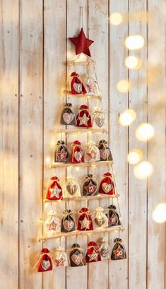 """Advent calendar """"Christmas"""" with LED light garland - Quick, Easy, Cheap and Free DIY Crafts Homemade Advent Calendars, Diy Advent Calendar, Kids Calendar, Calendar Ideas, Christmas Sewing, Diy Christmas Gifts, Christmas Time, Holiday Decor, Advent Calenders"""