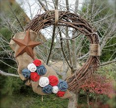Red White and Blue Burlap Roses Grapevine by AmericasFrontPorch, $32.00