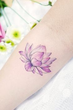 7ad6572f8 10 BEST LOTUS FLOWER TATTOO IDEAS TO EXPRESS YOURSELF   Cute Purple Lotus  Flower Tattoo #