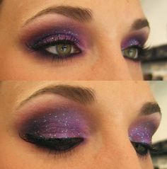 Purple eyeshadow with glitter. Pretty!