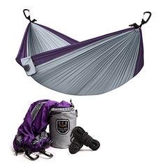 Two Tree Hammock Co  Double Parachute Nylon Lifestyle  Camping Hammock Planting Two Trees with every Hammock Sold PurpleSilver -- Find out more about the great product at the image link.