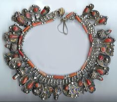Africa | Kabyle silver, enamel and coral necklace from Algeria | © Linda Pastorino