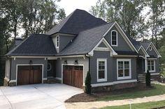 Exterior Paint Colors For House, Dream House Exterior, Grey Siding House, Siding Colors For Houses, Stone On House Exterior, Outside House Paint Colors, Gray Siding, Exterior Siding Colors, Grey Exterior