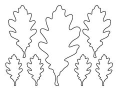Oak leaf pattern. Use the printable outline for crafts, creating stencils, scrapbooking, and more. Free PDF template to download and print at http://patternuniverse.com/download/oak-leaf-pattern/