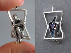 You Have My Heart silver pendant with garnet - necklaces for lovers. Hidden heart