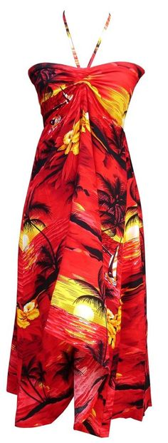 Sexy Tropical Hawaiian Halter Butterfly Party Cruise Luau Hibiscus Dress Sunset